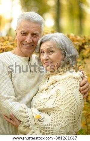 Portrait of a senior couple resting at autumn park - stock photo