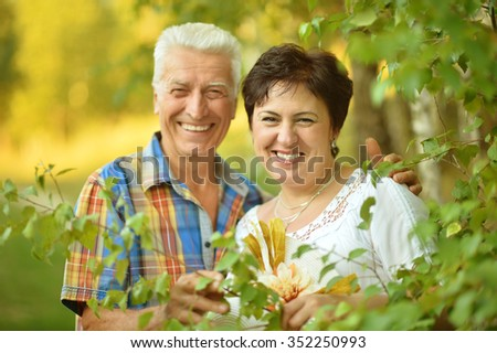 Portrait of a senior couple resting at summer park - stock photo
