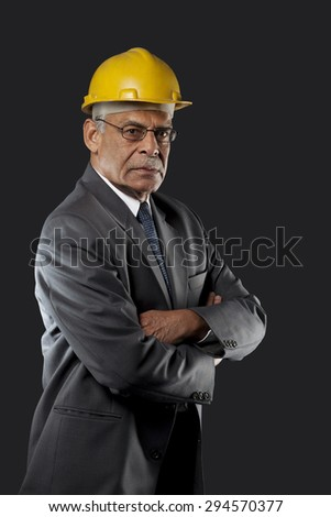 Portrait of a senior engineer - stock photo