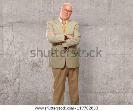 Portrait Of A Senior Man, Background - stock photo