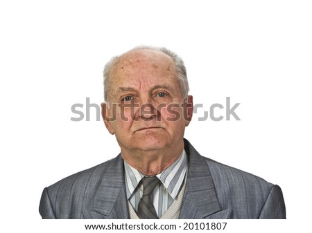 Portrait of a senior man isolated against a white background. - stock photo