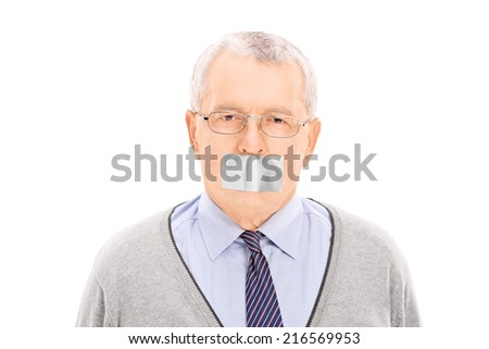Portrait of a senior with a duct taped mouth isolated on white background - stock photo