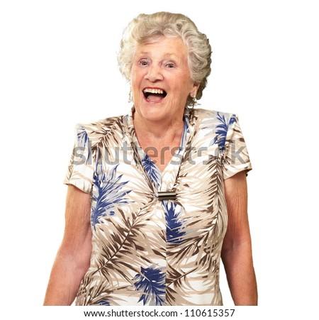 Portrait Of A Senior Woman Happy On White Background - stock photo