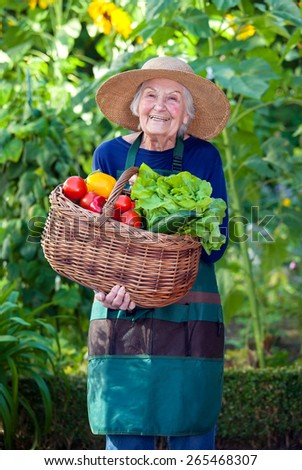 Portrait of a Senior Woman in Gardening Outfit with Basket of Healthy Fresh Vegetables at the Garden While Smiling at the Camera - stock photo