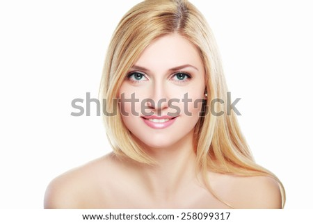 Portrait of a sensual beautiful young blond woman isolated on white background - stock photo