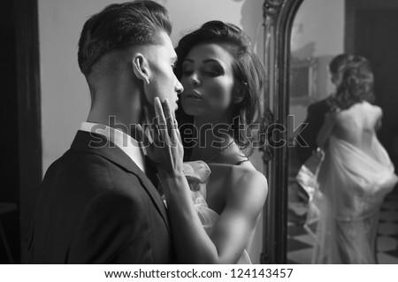 Portrait of a sexy couple - stock photo