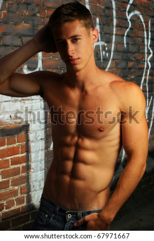 Portrait of a sexy shirtless male fitness model - stock photo