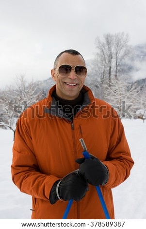 Portrait of a skier - stock photo