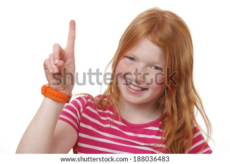 Portrait of a smart girl on white background - stock photo
