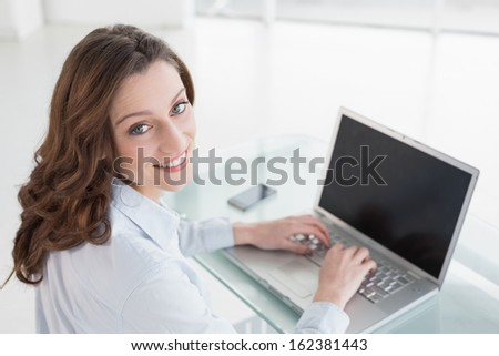 Portrait of a smiling brown haired businesswoman using laptop in a bright office - stock photo