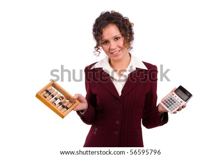 Portrait of a smiling business woman choice between  wooden abacus and calculator. Isolated over white background. - stock photo