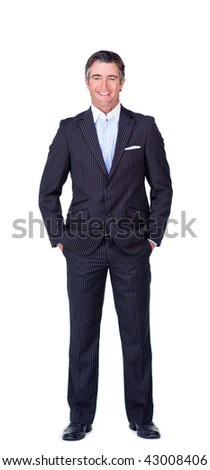Portrait of a smiling businessman isolated on a white background - stock photo