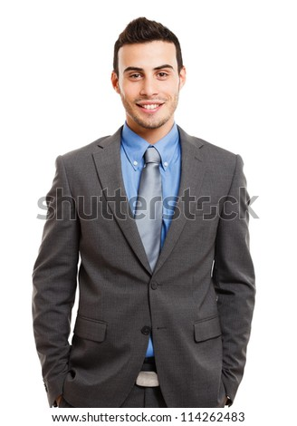 Portrait of a smiling businessman. Isolated on white - stock photo