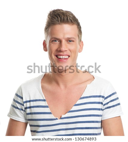 Portrait of a smiling caucasian man isolated on white - stock photo