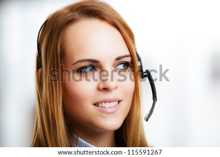 Portrait of a smiling customer representative - stock photo