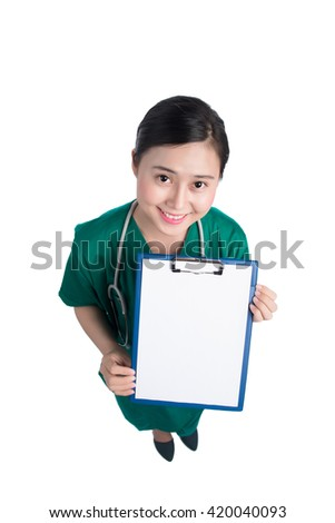 Portrait of a smiling doctor or nurse. Medical Record. Female doctor holding a clipboard - isolated over a white background - stock photo