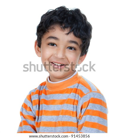 Portrait of a Smiling, Handsome Little Boy, Isolated, White - stock photo
