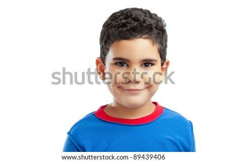 Portrait of a smiling latin boy  isolated on a white background - stock photo