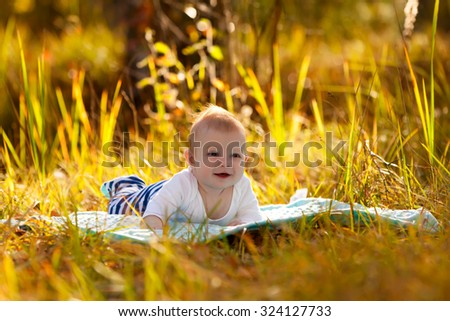 Portrait of a smiling little boy lying on grass. Cute  child enjoying nature outdoors. Healthy carefree kid playing outside in autumn park. - stock photo