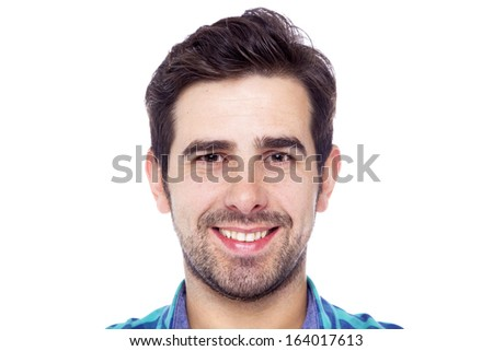 Portrait of a smiling man, isolated on a white background - stock photo