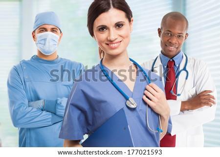 Portrait of a smiling nurse - stock photo