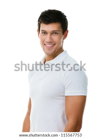 Portrait of a sportive man in white T-shirt, isolated on white - stock photo