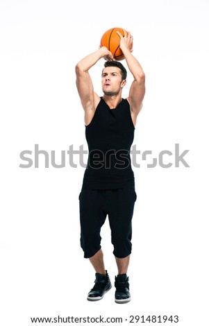 Portrait of a sports man playing in basketball isolated on a white background - stock photo