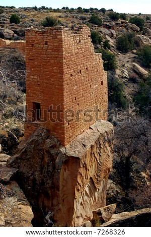 Portrait of a square tower in the Holly Group of Hovenweep National Monument - stock photo