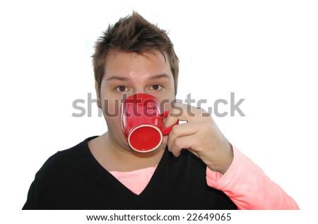 Portrait of a strange looking man drinking coffee - stock photo