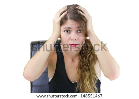 Portrait of a stressed young female - stock photo