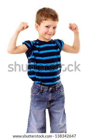 Portrait of a strong kid showing the muscles of his arms, isolated on white - stock photo