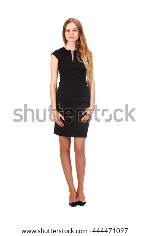 Portrait of a stunning young woman posing in little black dress - stock photo