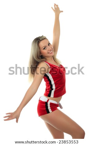 Portrait of a styled professional cheerleader. - stock photo