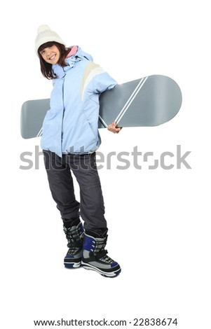 Portrait of a styled professional model with snowboard - stock photo
