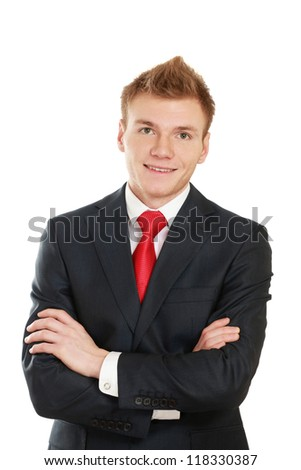 Portrait of a successful businessman, isolated on white background - stock photo