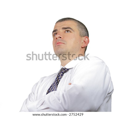 Portrait of a successful businessman isolated over white background. - stock photo