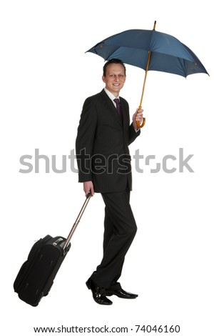 Portrait of a successful businessman with travel bag and umbrella, isolated on white background - stock photo