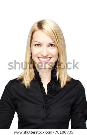 Portrait of a successful,  elegant, atractive, business woman wearing black blouse. - stock photo