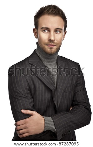 Portrait of a successful young business man - stock photo