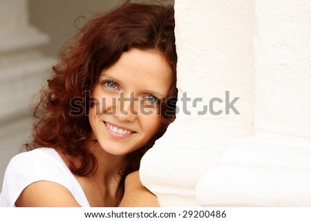 Portrait of a sweet young woman - stock photo