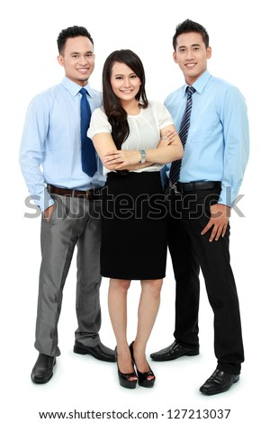 Portrait of a team workers smiling isolated on white background - stock photo