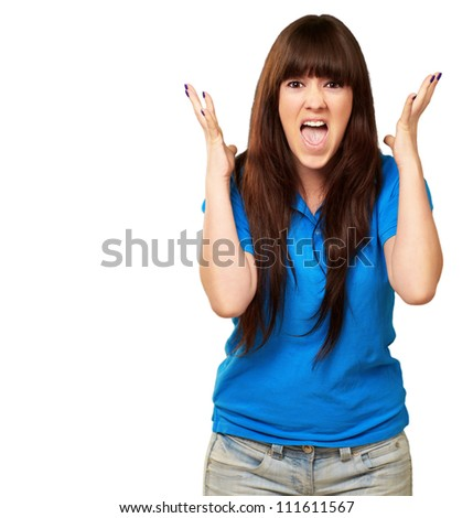 portrait of a teenager screaming and angry on white background - stock photo