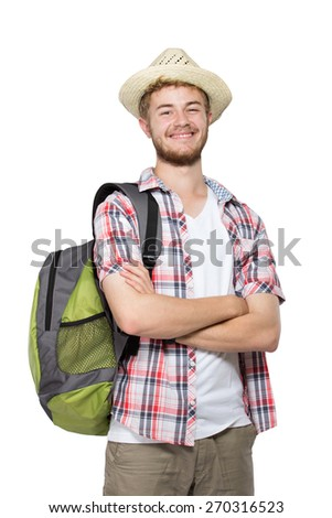 portrait of a tourist man isolated on white background - stock photo
