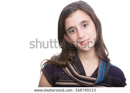 Portrait of a trendy hispanic teenager isolated on a white background - stock photo
