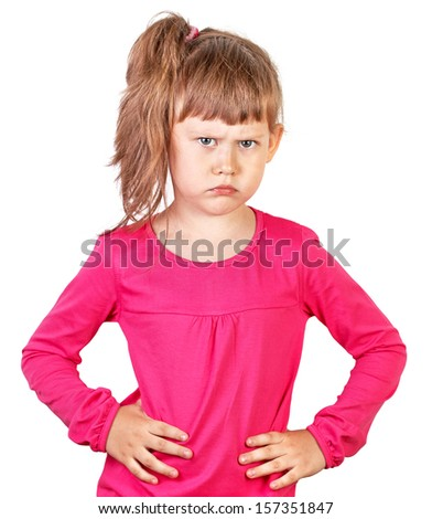 Portrait of a upset child in a pink - stock photo