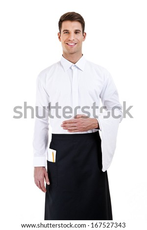 Portrait of a waiter with shirt over white background - stock photo