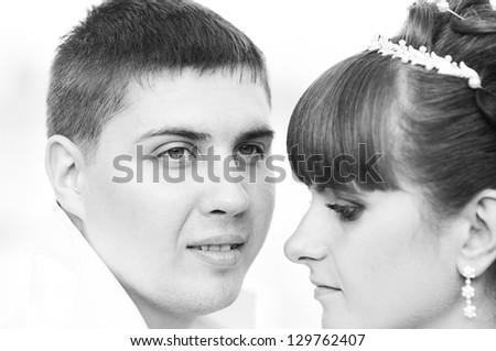 Portrait of a wedding couple - stock photo