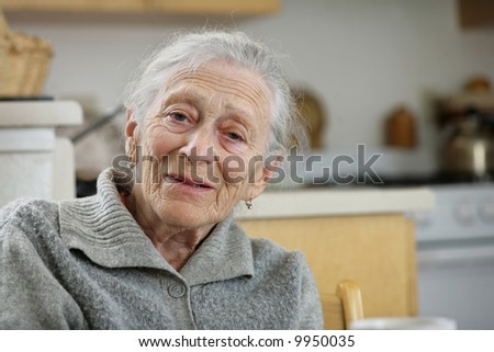 Portrait of a wise senior woman at home - stock photo