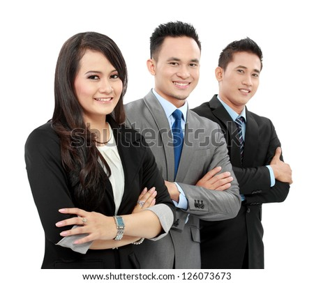 Portrait of a woman and man office worker smiling isolated on white background - stock photo