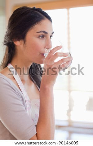 Portrait of a woman drinking water in her kitchen - stock photo